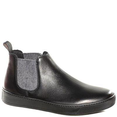 #Stivaletto in pelle nera con doppi elastici in tessuto grigi.