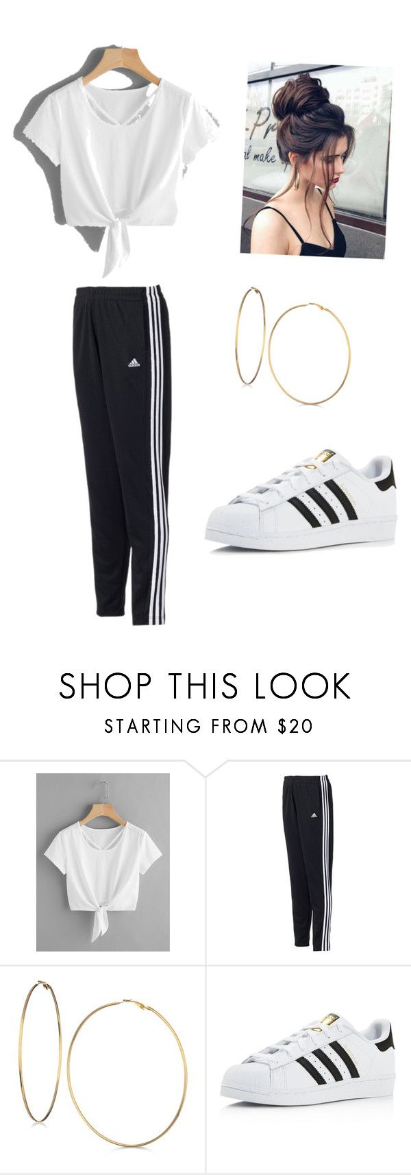 """!!"" by alyssapreps on Polyvore featuring adidas and GUESS"