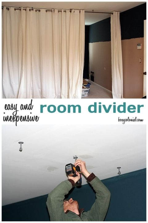 Make this Room Divider from Ikea Curtain Panels and a Ceiling Mount Curtain Rod