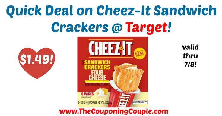 LOVE this deal!! Super easy to pick up now through 7/8! Quick Deal on Cheez-It Sandwich Crackers @ Target!  Click the link below to get all of the details ► http://www.thecouponingcouple.com/quick-deal-on-cheez-it-sandwich-crackers-target/ #Coupons #Couponing #CouponCommunity  Visit us at http://www.thecouponingcouple.com for more great posts!