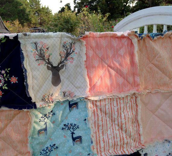 Crib Rag Quilt Antlers Deer Peach Coral Arrows Blush Pink