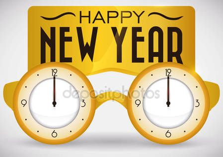 Golden Goggles like Clocks for New Year Countdown