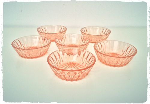 Ensemble de 6 Coupelles Duralex Vintage Origami Rose Transparent | OOMPA - Meubles et décoration vintage, scandinave - Années 50, 60 et 70