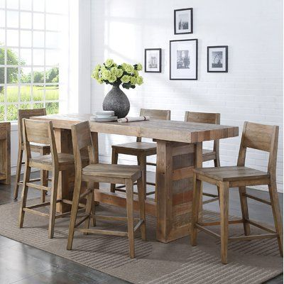 Loon Peak Needham Counter Height Dining Table Color Natural Pine Wood