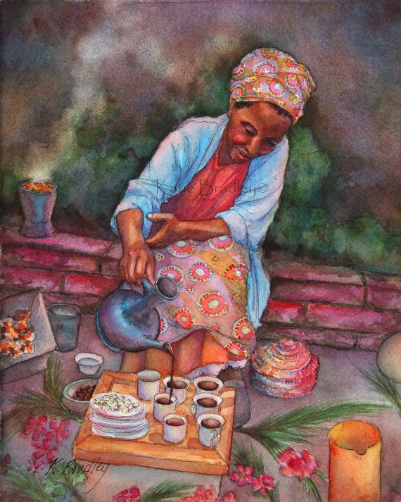 Special memories of our first coffee ceremony before we met our daughter.  NEW Ethiopian Coffee Ceremony 8x10 African by MossyRockDesigns, $20.00