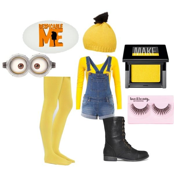 Minion Halloween Costume by casual-friday on Polyvore featuring Rampage, Bernstock Speirs, Make and Forever 21