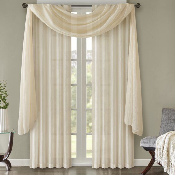 Bruggeman Solid Color Sheer Rod Pocket Panel Pair Curtain Decor