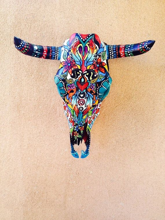 Turquoise Mi Corazon Hand painted colorful steer skull sugar skull art piece....note that each skull is individually handpainted therefore the