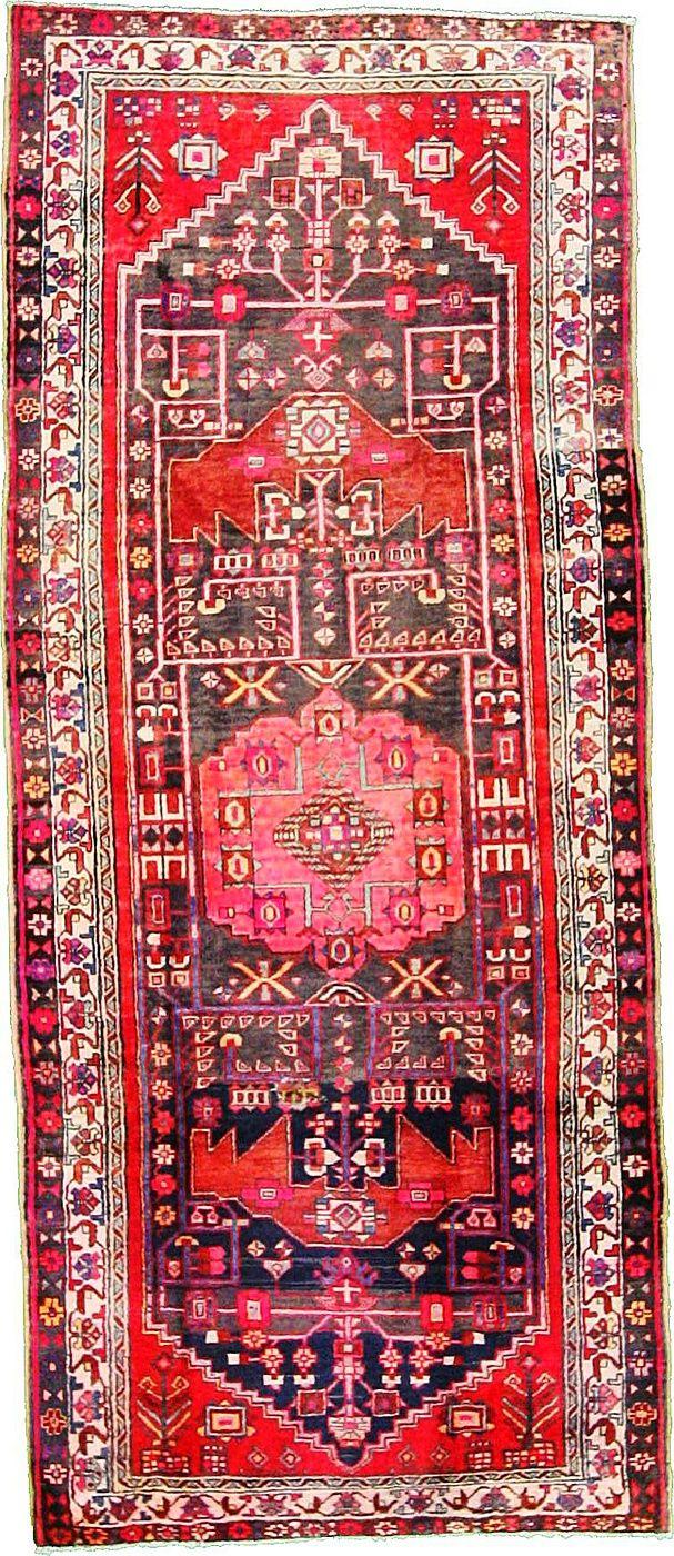 4' 4 x 10' 2 Navy Blue Hamedan Area Rug | Esale Rugs | Antique Persian Rugs