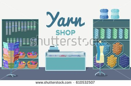 Wool shop interior template with yarn skeins, knitting tools,  m