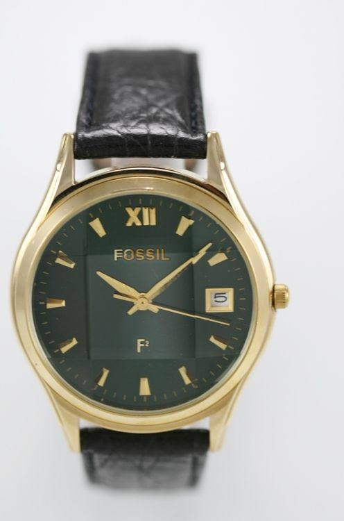 Fossil Mens Watch Black Leather Date Stainless Gold Water Resistant Green Quartz