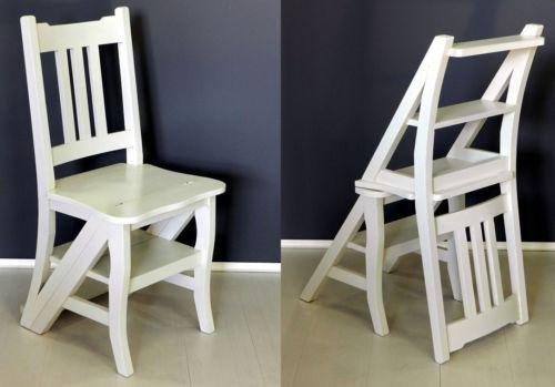 Sedia scala,sedia trasformabile in scaletta,scaletta,legno finitura bianca | eBay