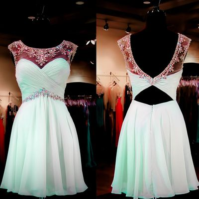 Mint backless homecoming dresses, unique backless homecoming dresses, lace homecoming dresses, sexy homecoming dresses, custom prom dresses,  17329