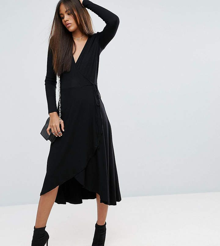 Asos Design Puff Sleeve Popper Front Tea Dress In Black Asos In 2020 Tea Dress Trending Dresses Womens Dresses