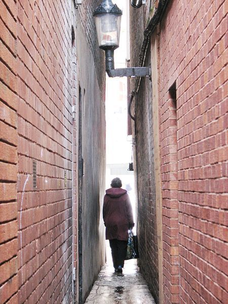Parliament Street is in Exeter, England. It is the narrowest street in the world, measuring less than 0.64m (25″) at its narrowest point. It was originally called Small Street (for reasons that are obvious) but was renamed when parliament passed an act of law that expanded the representation of the people in the house of commons. The street dates from the 1300s and it is 50 meters long.