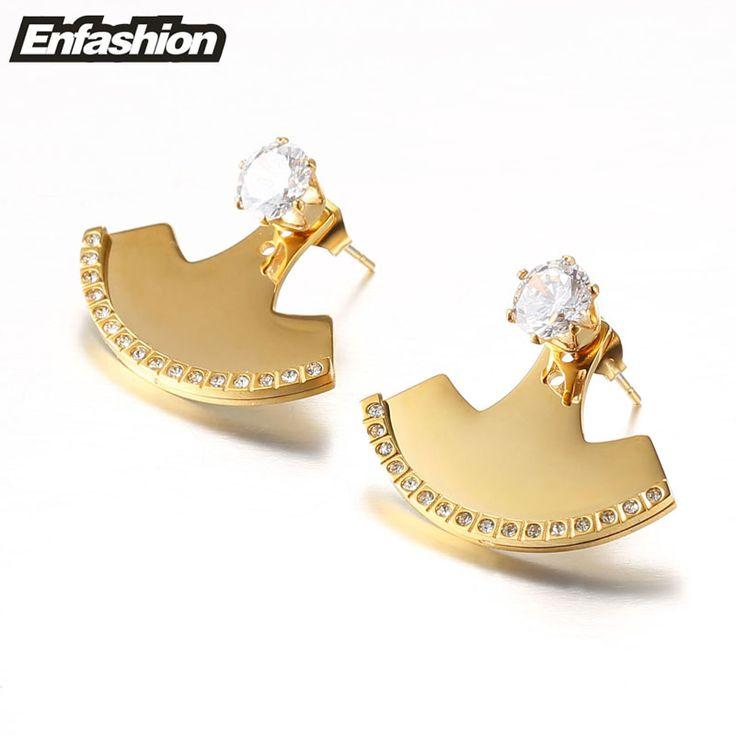 Enfashion Geometric Fan Earrings Stud Earring Rose Gold color Ear Jacket Earings Stainless Steel Earrings For Women Jewelry