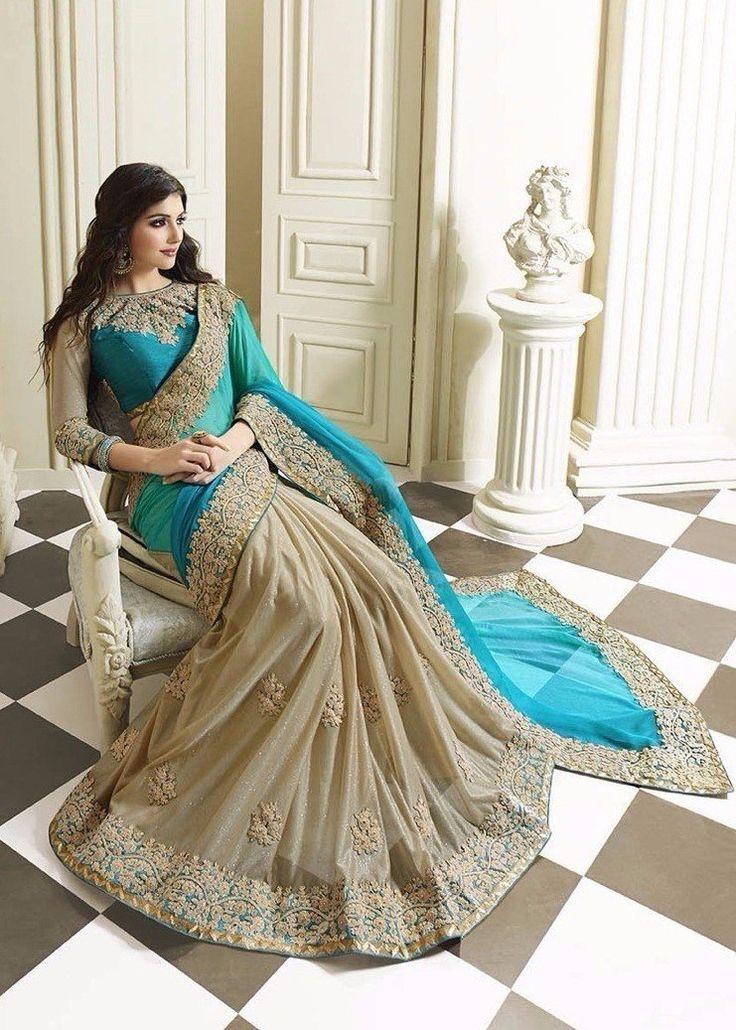 Embroidered Teal Blue Georgette Saree (Blouse-Bhagalpuri Silk)
