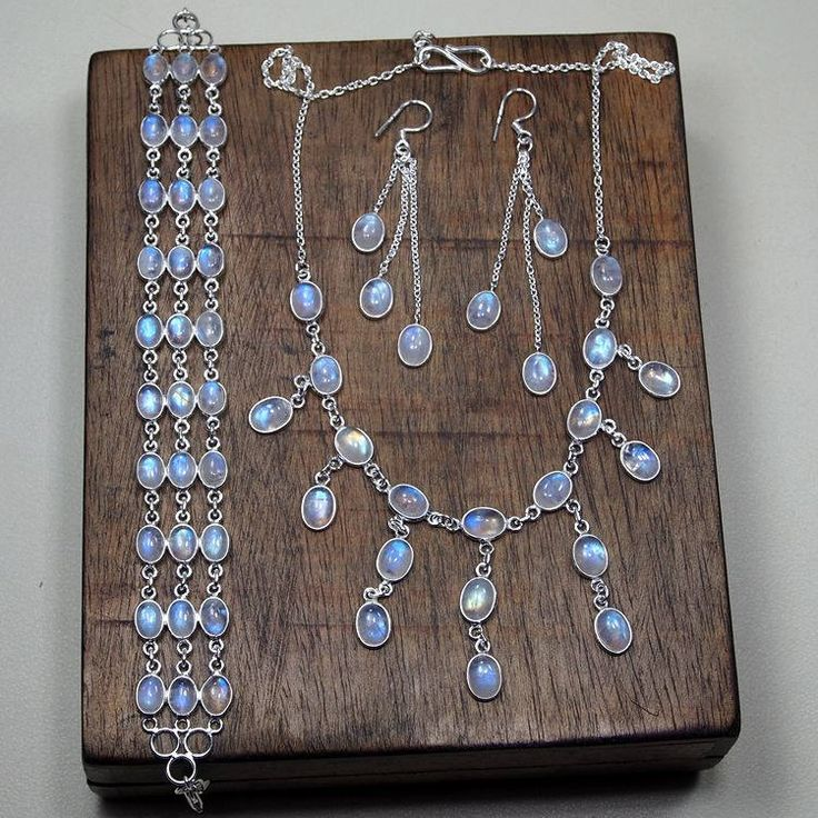 Jewellery SET,Top Quality Moonstone Jewelry,Bracelet Set,Earrings Set,Necklace set, 925 Sterling Silver,Birthday Party Gift,  X1248 by DIYJewelrysale on Etsy