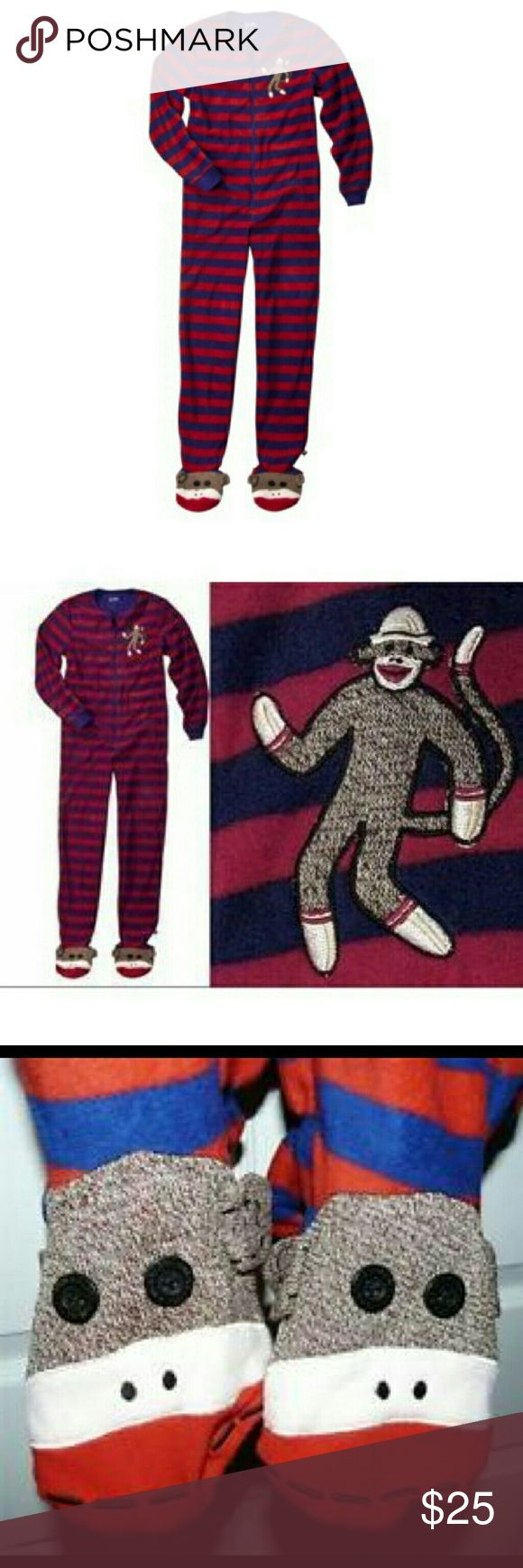 Nick and Nora Sock Monkey Onesie Pajamas XXL XXL sock monkey onesie fleece pajamas with red and blue stripes. In excellent used condition. Only worn once for a photo. Nick & Nora Intimates & Sleepwear Pajamas