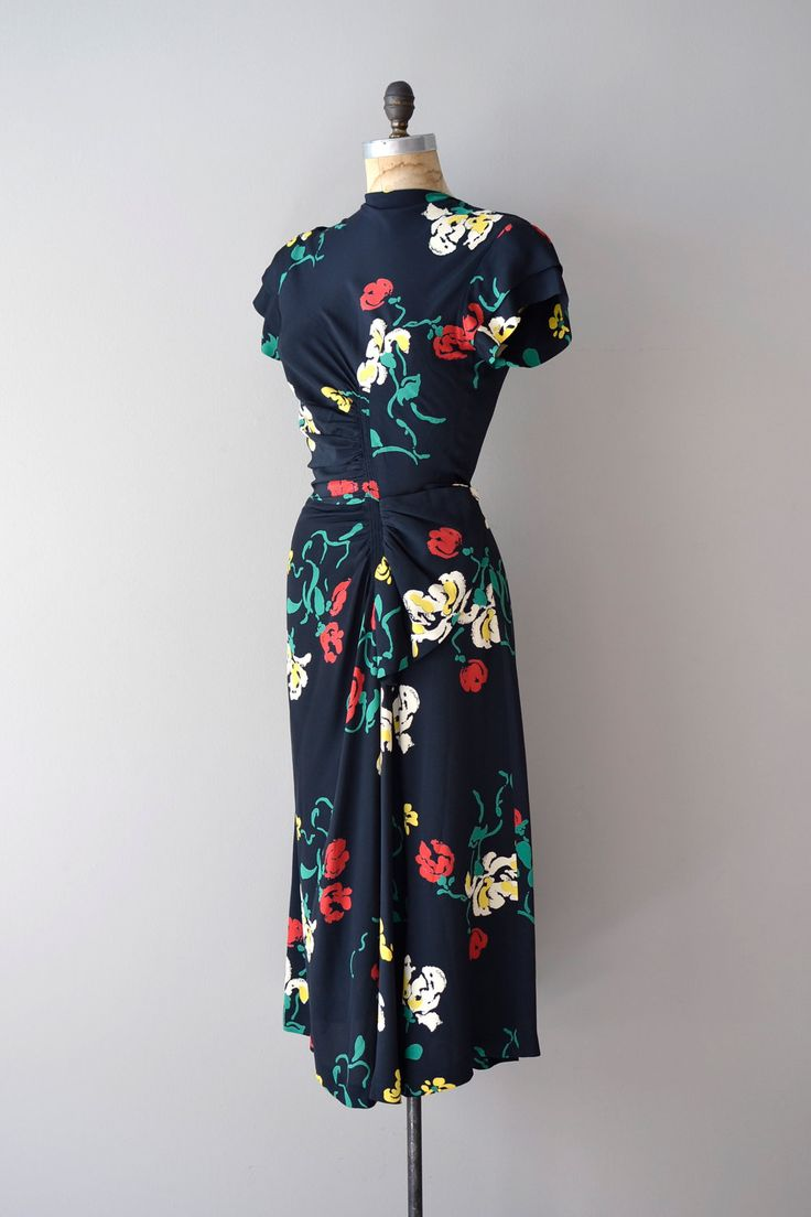 1940s dress / 40s dress / Parisian Bloom dress