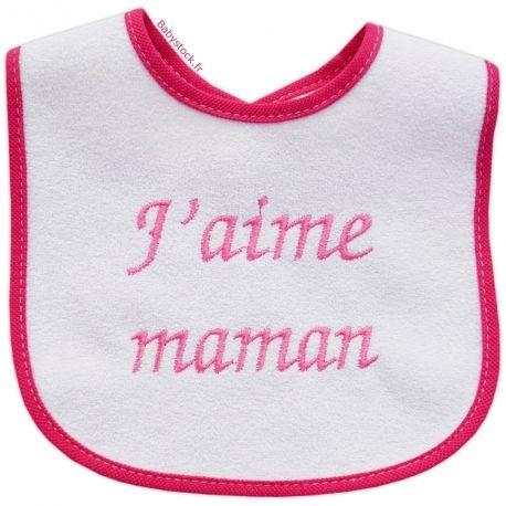 509bc2f85376c Bavoir bébé fille en éponge dos PVC brodé J aime Maman fushia   Babystock