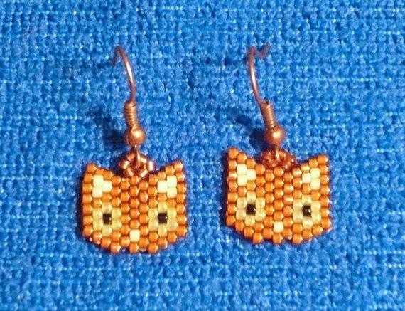 Orange Kitty Earrings