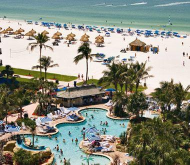 Marco Island Marriott Beach Resort on Marco Island, Florida, has three miles of white sand #Travel #Florida #FlyICT