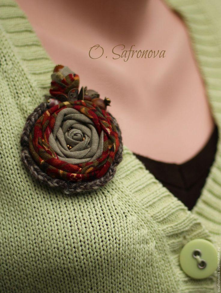 Купить Брошь роза текстильная Олеся. Брошь из ткани - комбинированный, брошь купить, брошки купить