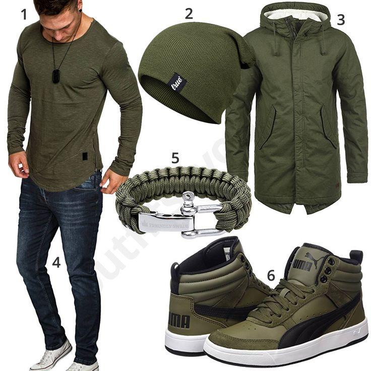 Lässiger Herren-Style mit olivgrünem Amaci&Sons Longsleeve, true Vision Mütze, gefüttertem Produkt Parka, Paracord Armband, hohen Puma Sneakern und dunkelblauer Merish Jeans.