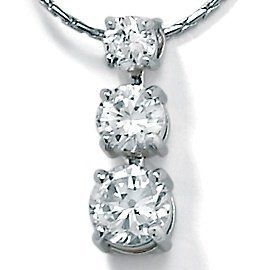 "1.65 TCW Round Cubic Zirconia Platinum Over Sterling Silver Triple-Stone Drop Pendant and Chain 18"" Palm Beach Jewelry. $59.99"