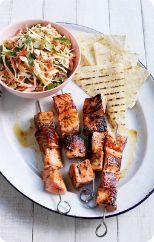 BBQ salmon skewers with crunchy slaw