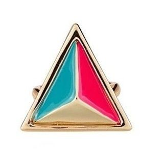Min Order $10(Mix Order)Free Shipping!Explosion of stereoscopic triangular colorful fluorescent hit color metal punk ring $0.55