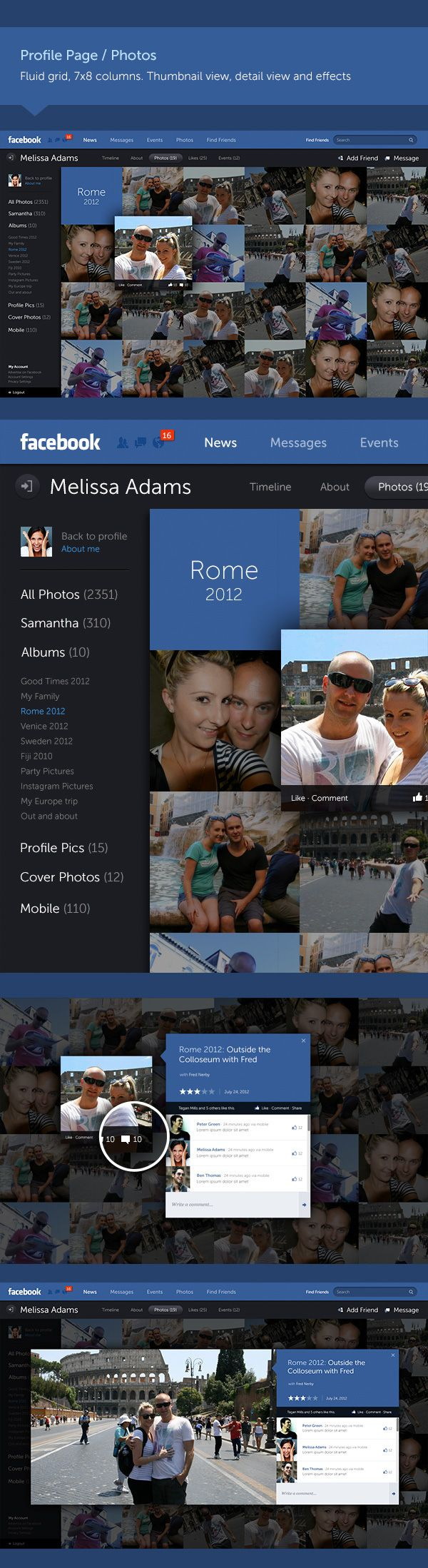 Profile page/photos - Facebook Redesign Concept by Fred Nerby #webdesign #web #website