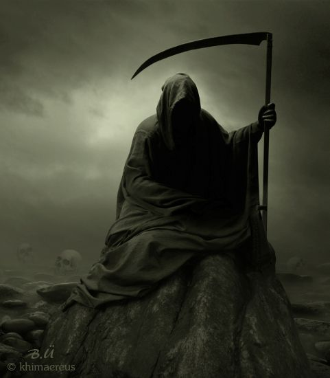 The Grim Reaper is the black-cloaked, scythe-wielding personification of death.aper.