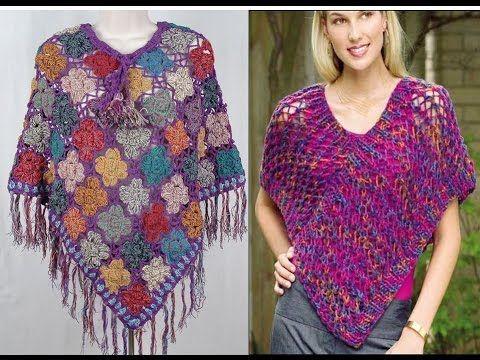 PONCHOS TEJIDOS A CROCHET LOS MAS LINDOS MODELOS 1°VIDEO | Crochet ...
