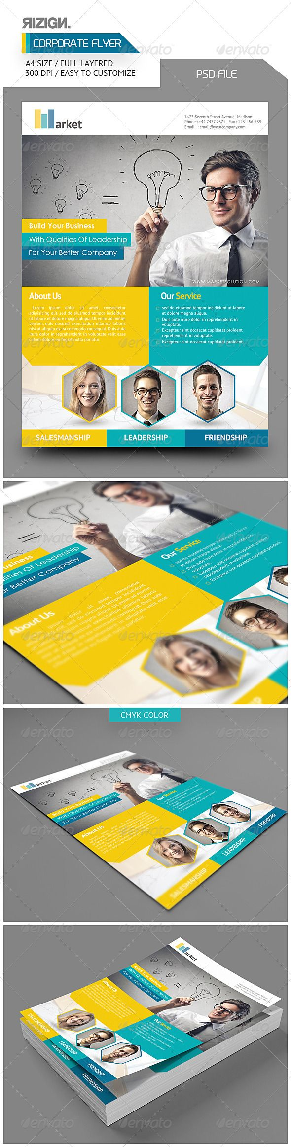 Corporate Flyer  #GraphicRiver           Corporate Flyer   PSD File   Easy To Customize  All Text Editable With Text Tool  A4  Userguide available in package download 	 Images not include  Image Link : photodune /item/smiling-portraits/4276142 Image Link : photodune /item/idea/4817954  	 Font Used :    Century Gothic  PT Sans 	 Download link font available in package download