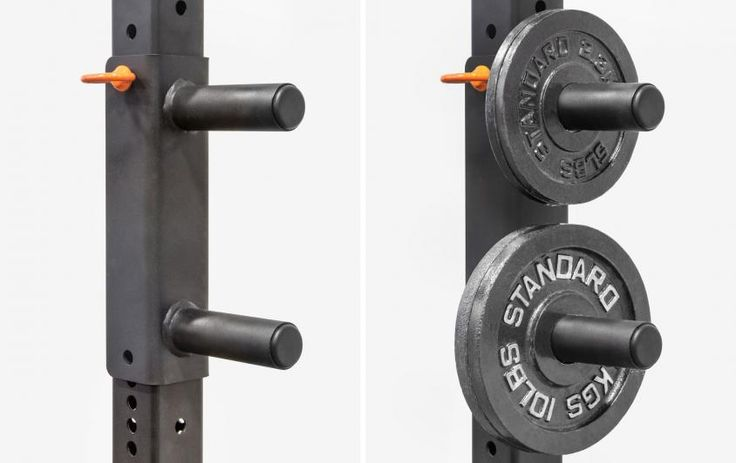 Add on power rack plate storage by Rogue Fitness.