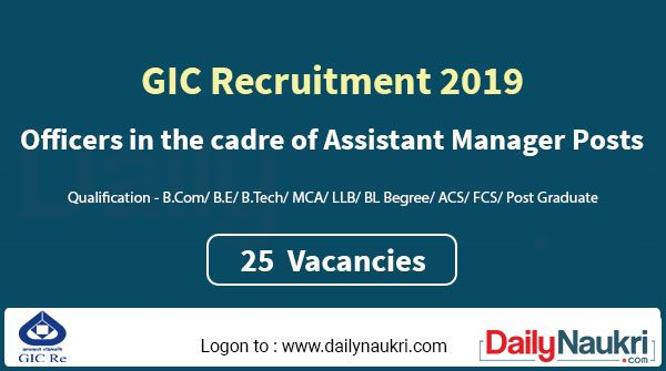 Gic Recruitment 2020 Apply Online For 25 Officer Vacancies With
