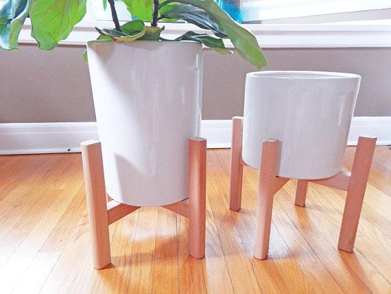 12 Inch Large Plant Stand Mid Century Modern Planter Modern Wooden Plant Stand Tall Pot Stand Wood Plant Stand Flower Pot Holder Wooden Plant Stands Mid Century Modern Planter Wood Plant Stand