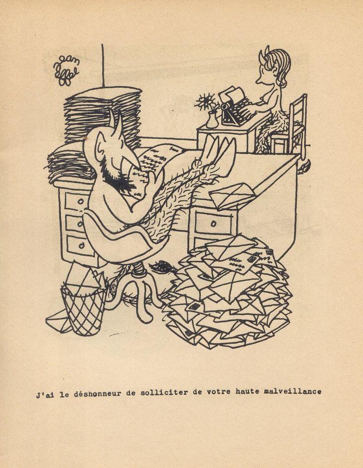 Жан Эфель, чье настоящее имя Франсуа Лежен (следовательно, FL), 1908 - 1982 г. Изучал искусство, музыку и философию в Париже.  После неудачной попытки сделать имя в драматургии, он начал посылать свои иллюстрации в различные французские издания. И вот на этом поприще его имя стало известно и не только во Франции - он стал одним из самых популярных иллюстраторов.  Devil-Paris-1951-7.jpg