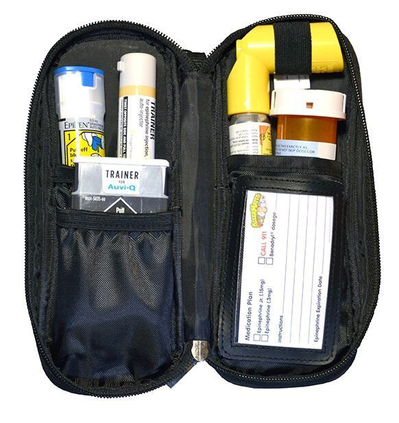 You spoke, we listened, and you can NOW get our popular Allergy Medicine Carrying Case in solid BLACK! Simple and sleek, this handy bag holds epinephrine auto-injectors and more. This medicine case al