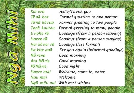 Bilingual chart: Greetings - Nga Mihi