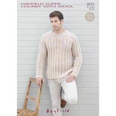 Easy Knit Sweater in Hayfield Super Chunky with Wool - 9751 - Adults - For - Patterns