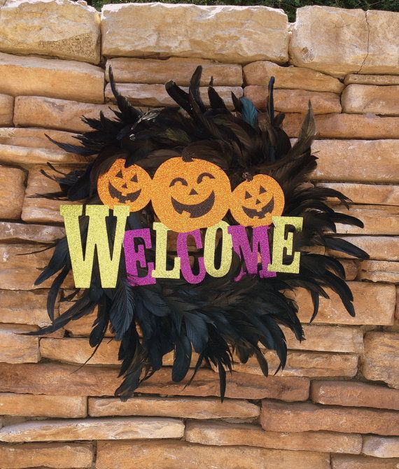 Halloween Wreath 16  Black Feathers with Glitter by ThatsItforLess, $20.00