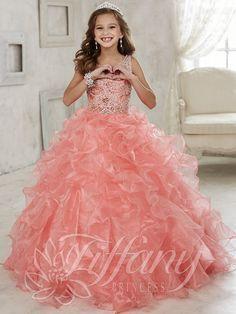 Tiffany Princess 13444 Scoop Neckline Girls Pageant Gown