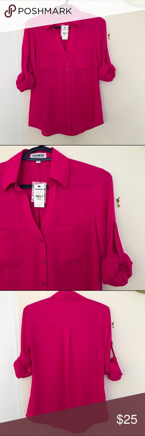 """Express portofino NWT hot pink shirt Brand new with tags. Sleeves can be rolled up and buttoned. Chest is 18"""", length is 27"""" and sleeve length is 23.5"""". Express Tops Blouses"""