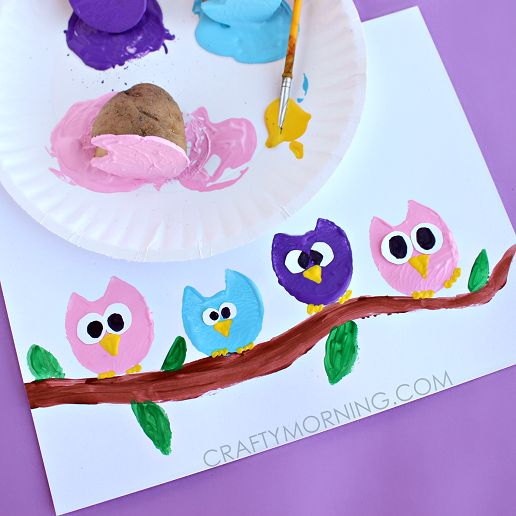 Make some potato print owls for a kids craft! Easy art project for them to do.