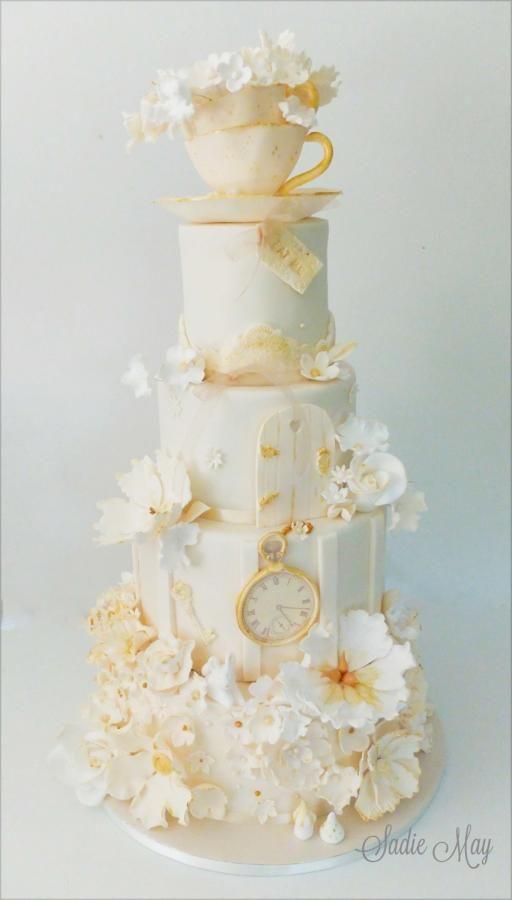Ivory Alice inspired wedding cake - Cake by Sharon, Sadie May Cakes