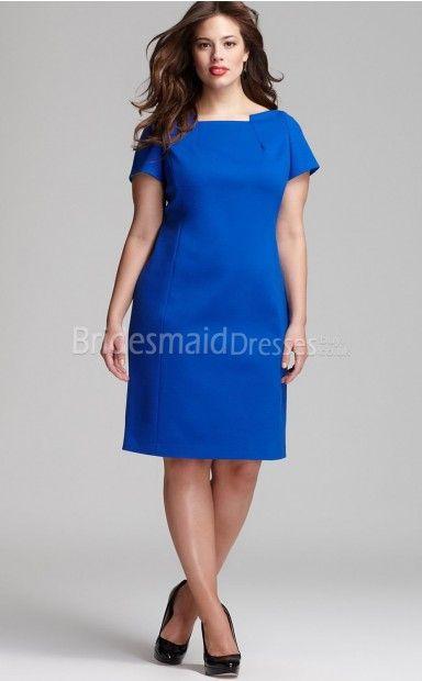 Bateau Ocean Blue Knee-length Plus Size Dresses(UKPSD03-018)