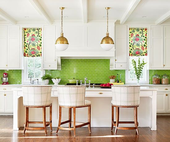 Love the colorful tiles - Agnes // - Customized Colorful Tile - Colorful tile can completely change the mood of a white kitchen. Here, lime green tiles break up upper and lower cabinets and play off the patterned window treatments. The kitchen feels crisp, clean, and contemporary.